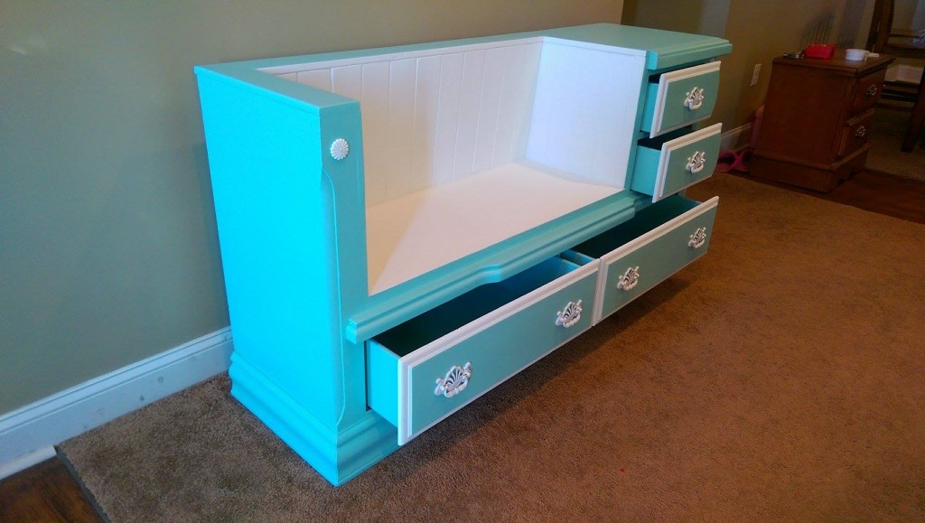 Side view of Alice's dresser bench with drawers open