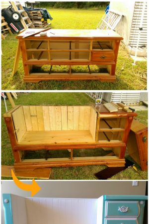 repurposed dresser to bench /grillo designs www.grillo-designs.com