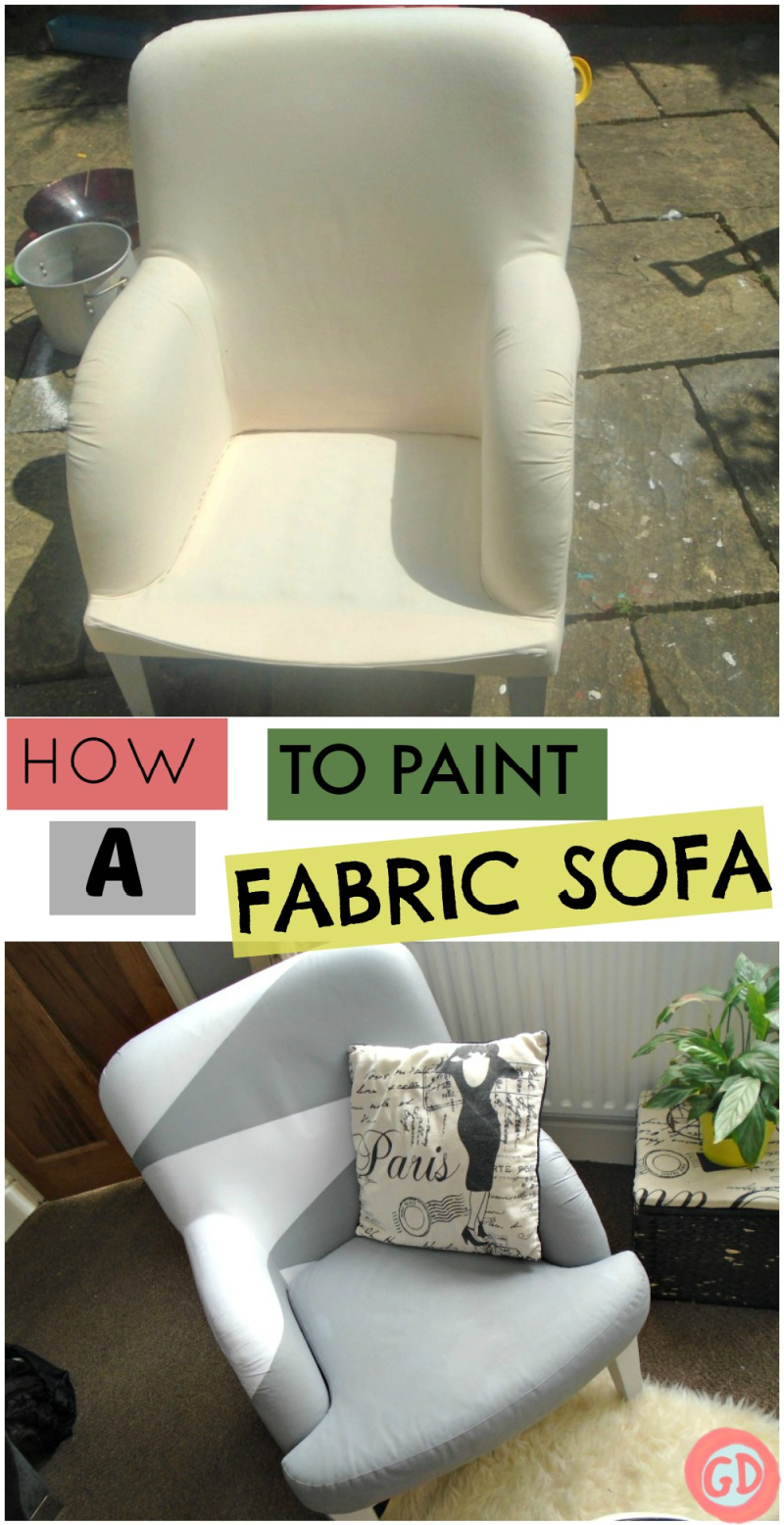 How to Paint a Fabric Sofa Tutorial Before and after Photos