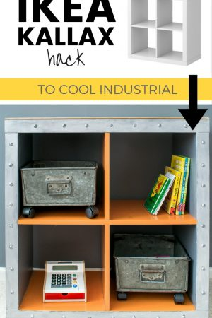 Industrial faux metal kallax cube for boys bedroom / Grillo Designs