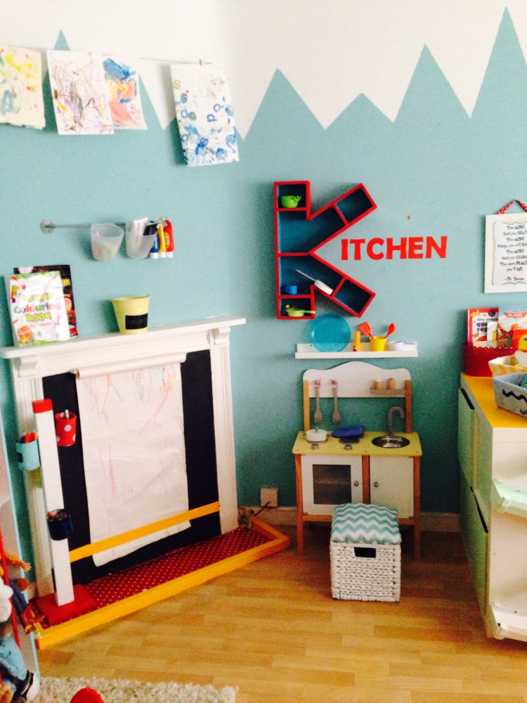 Close up image of the play kitchen area along with an art space