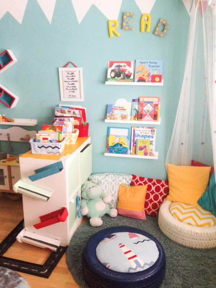Children's reading nook with tyre seating