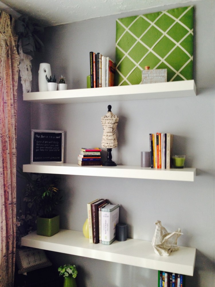 The Ikea lack shelves in use.