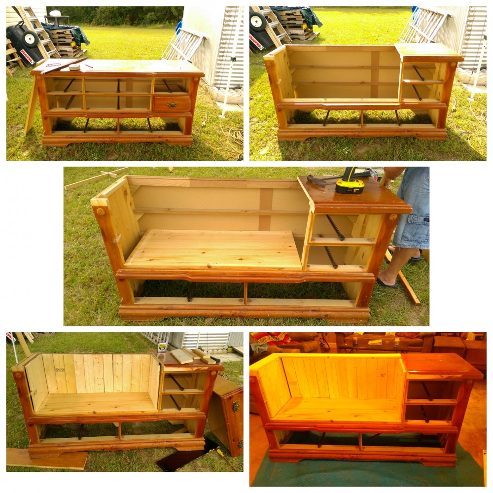 Collage of Alice's dresser bench in process