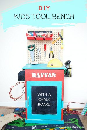 DIY Kids Tool Bench WITH A CHALKBOARD DOOR / grillo designs www.grillo-designs.com