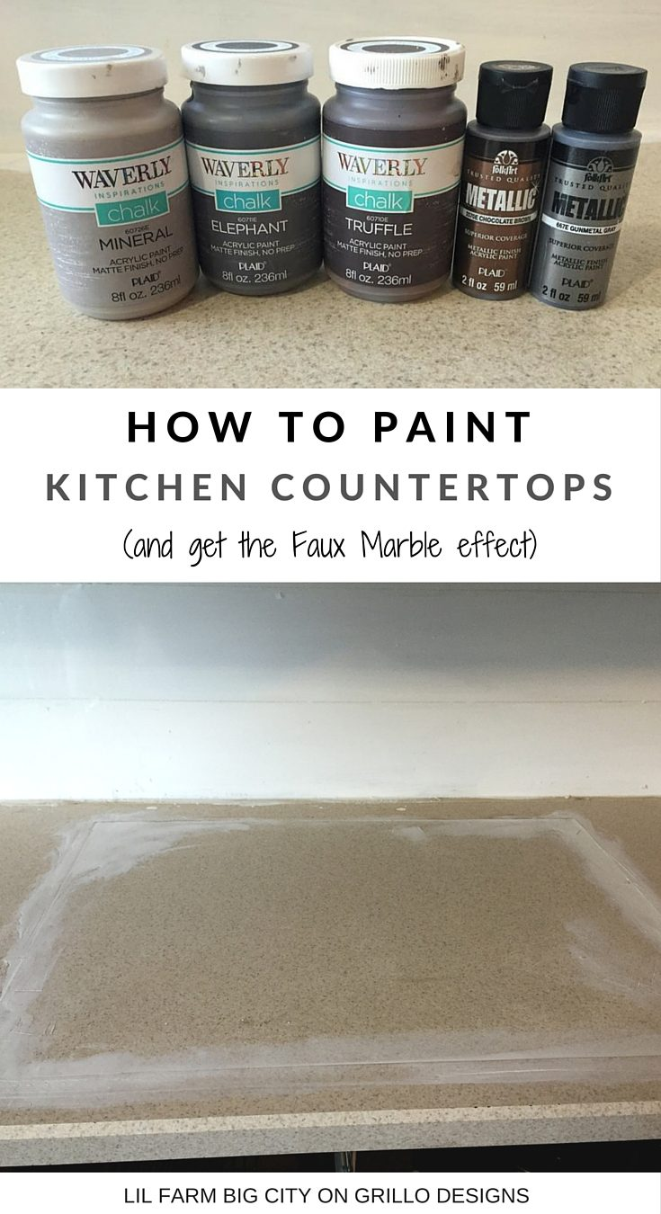 Erica Pounder from Lil Farm Big City shares a tutorial on how to paint kitchen countertops and how to achieve the faux marble effect. Click here for more