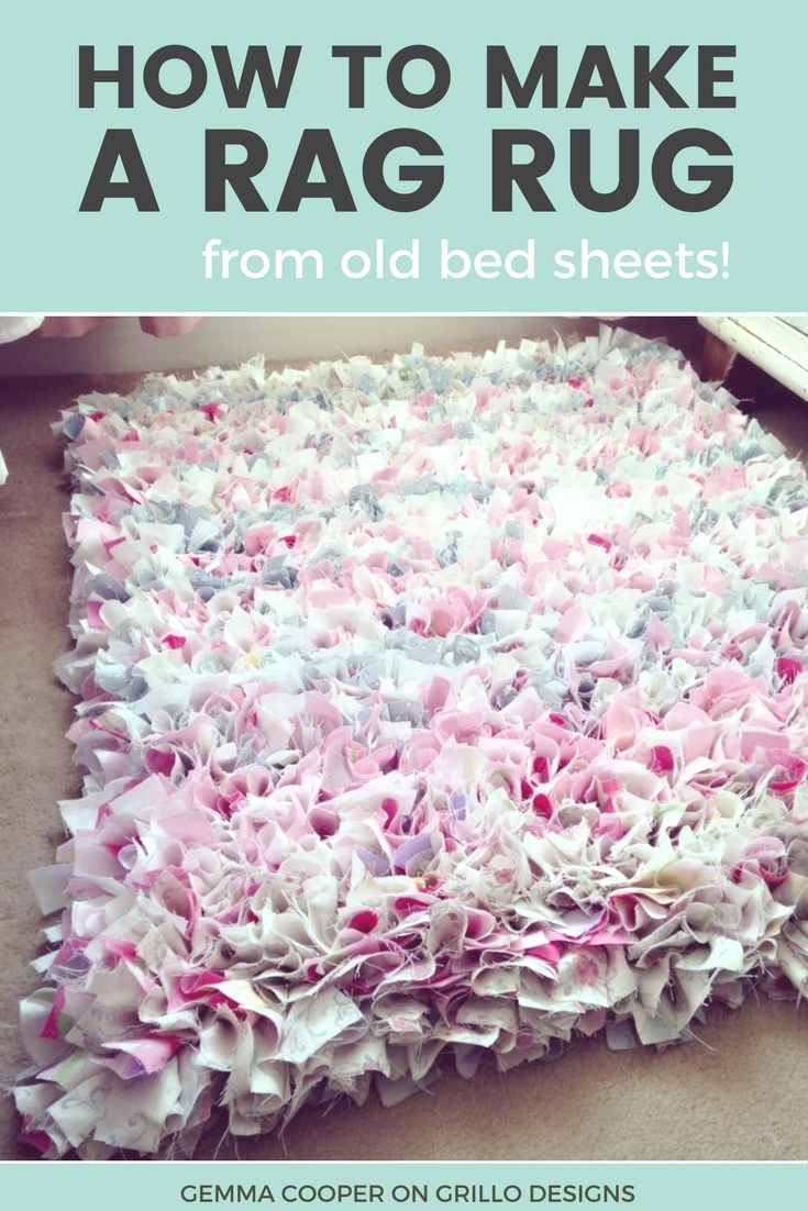 Learn how to make an easy no sew rag rug / grillo designs www.grillo-designs.com