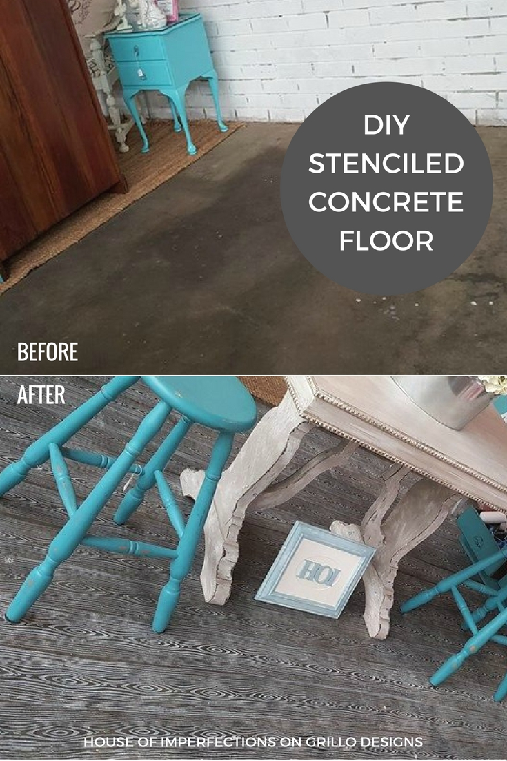 before and after of stencil concrete floors / grillo designs www.grillo-designs