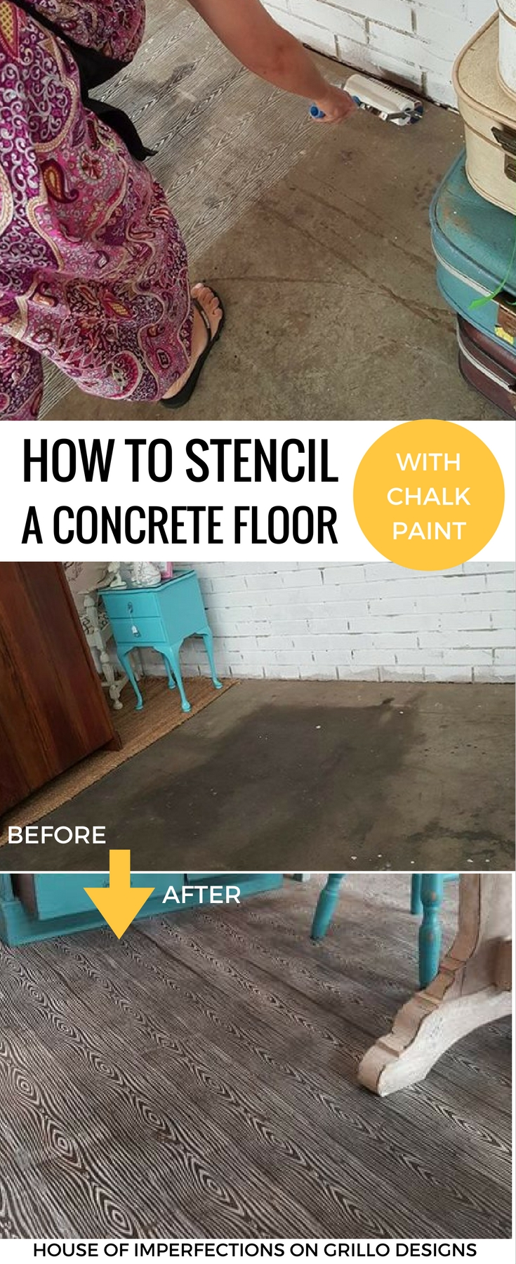 How To Stencil Concrete Floors With Chalk Paint
