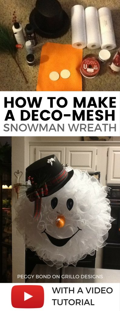 How to make a cute deco mesh snowman /grillo designs