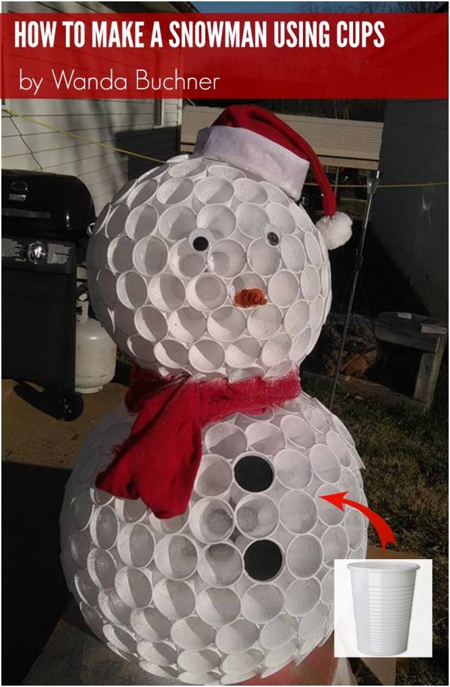 How to make a cup snowman by wanda buchner for Cup snowman