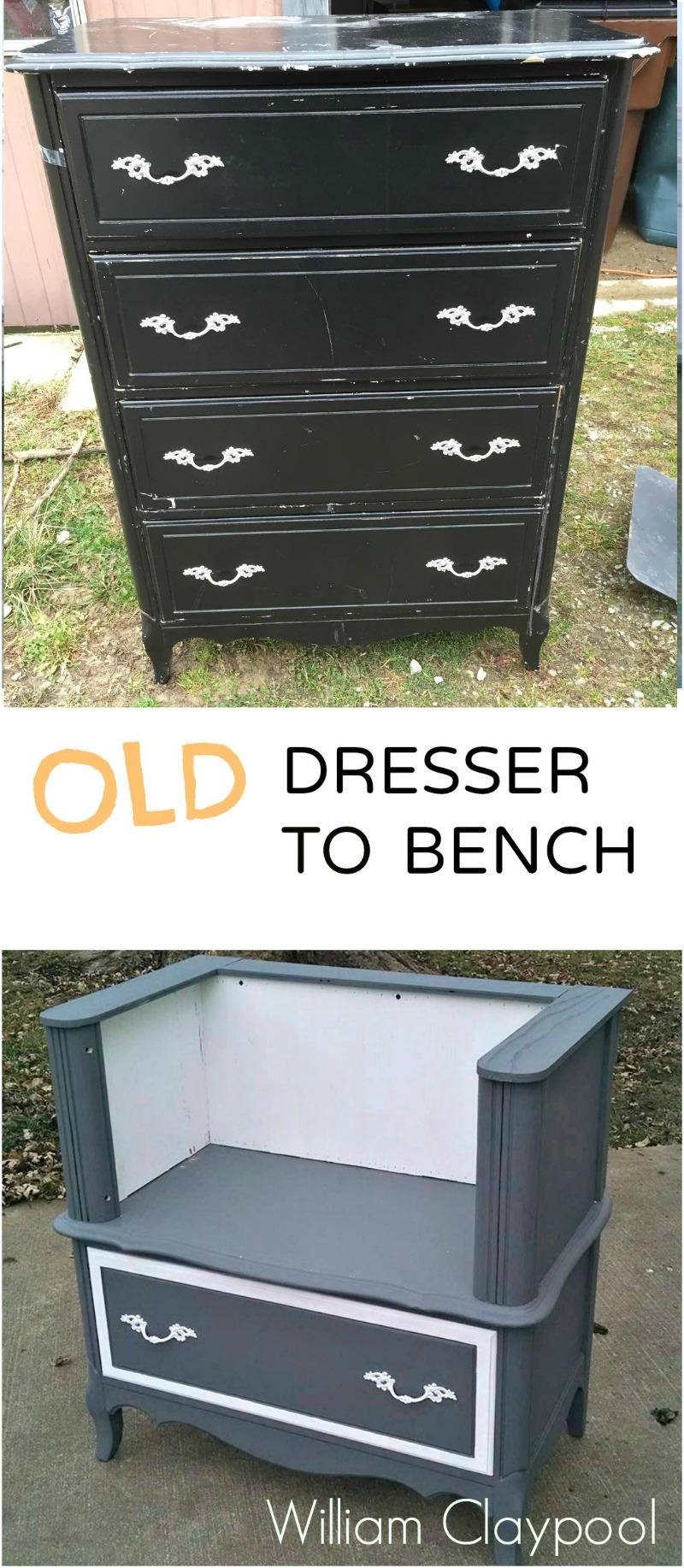 Old dresser to bench 1