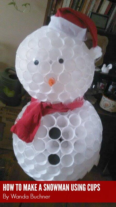 How to make a cup snowman by wanda buchner for Snowman made out of cups