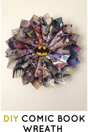 diy comic book wreath book pages