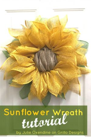 poly mesh sunflower wreath tutorial /Grillo Designs www.grillo-designs.com