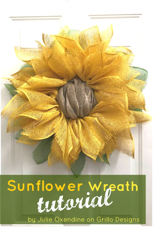 How to make a burlap sunflower wreath / Grillo Designs www.grillo-designs.com