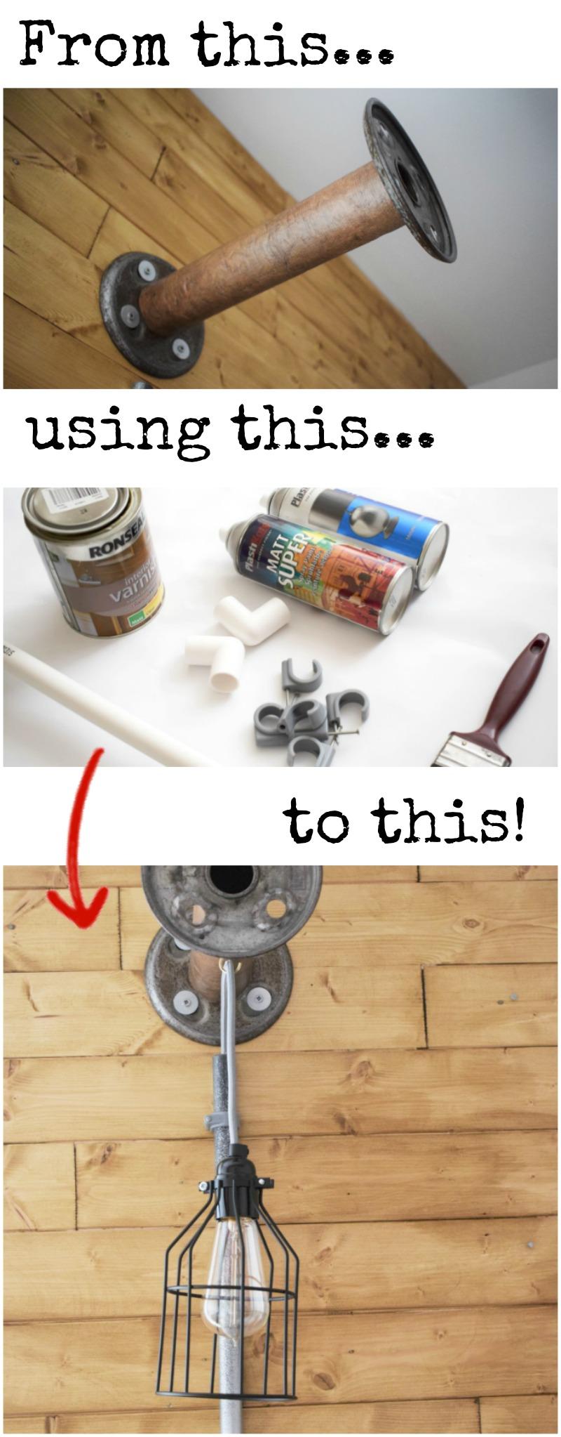 DIY INDUSTRIAL BOBBIN LIGHT HANGING pinit
