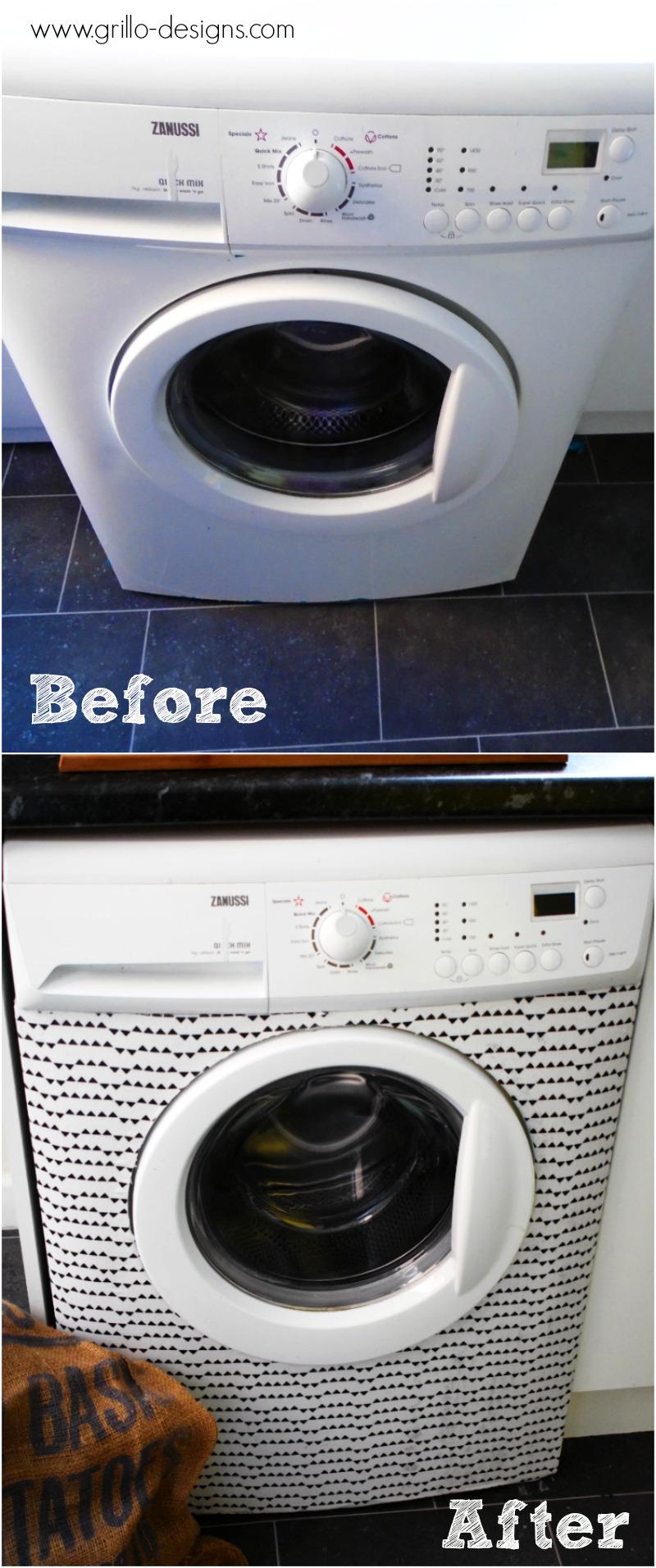 Washing machine makeover with fabric