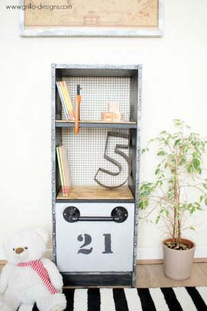 IKEA INDUSTRIAL FAUX METAL KIDS SHELF WITH TOY BED WWW.GRILLO-DESIGNS.COM
