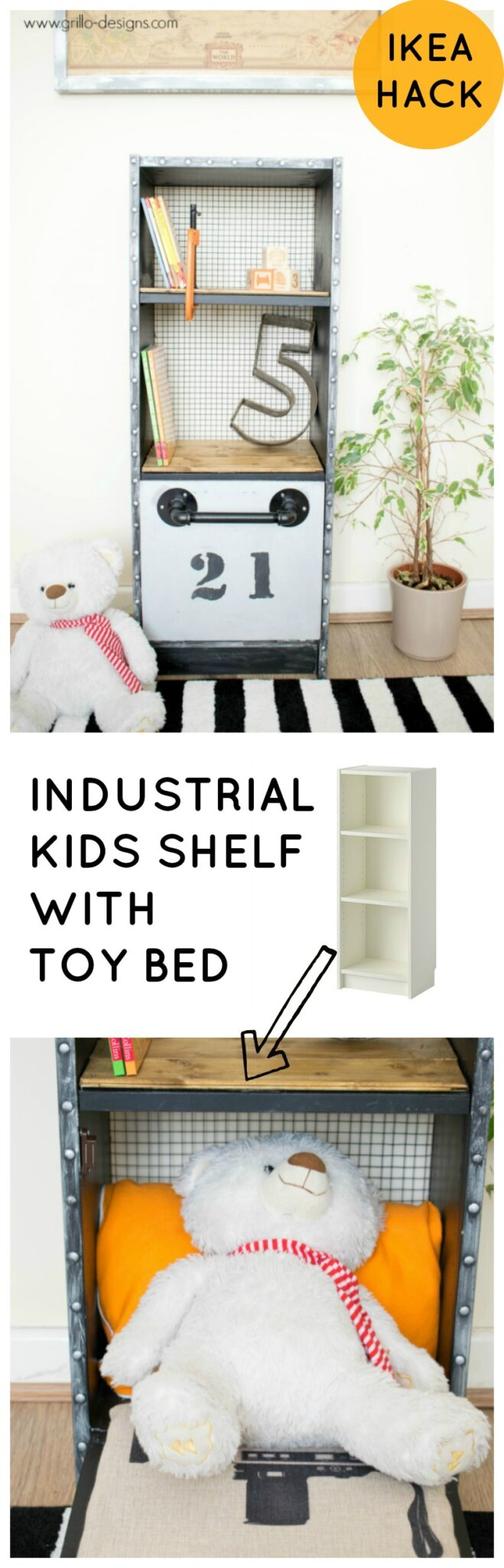 IKEA INDUSTRIAL KIDS SHELF WITH TOY BED