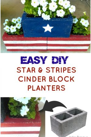 how to make DIY Stars & Stripes Cinder Block Planters / grillo designs www.grillo-designs.com