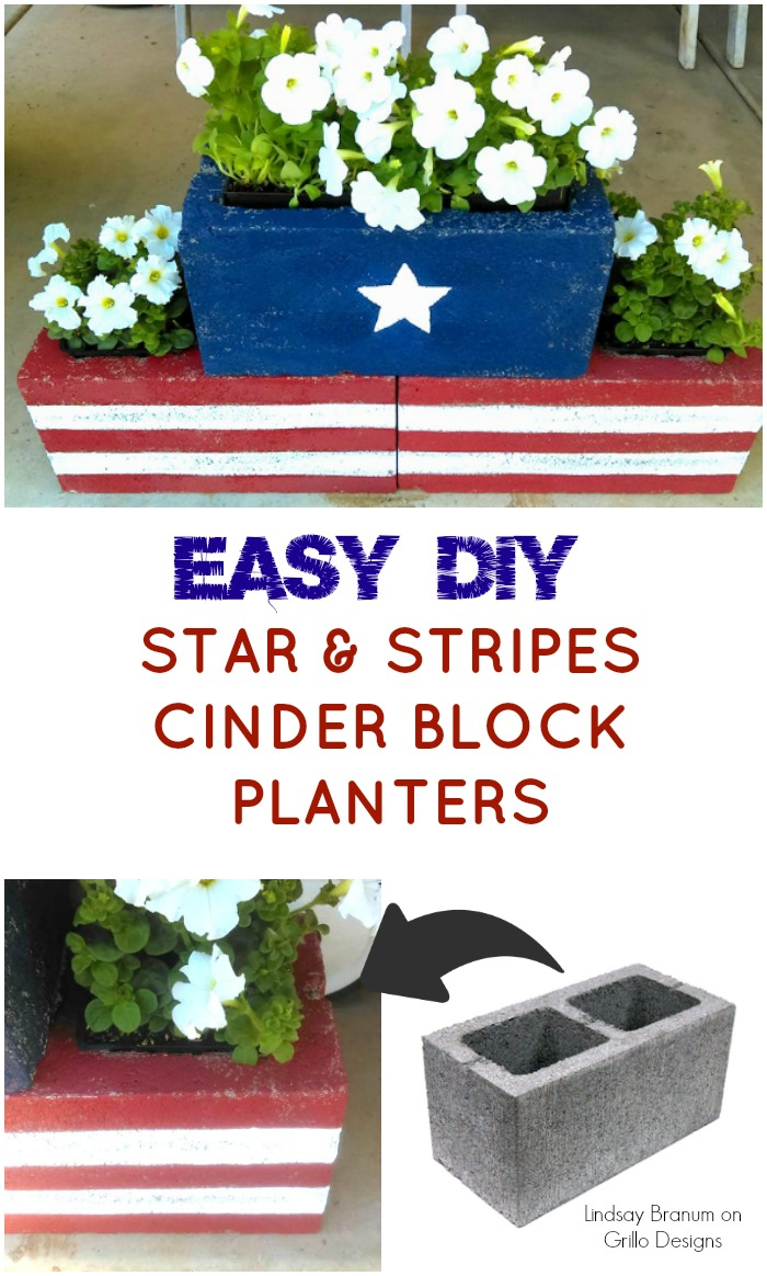 DIY Stars & Stripes Cinder Block Planters