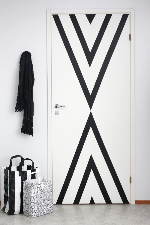 black-striped-contact-paper-door-update-renter-friendly