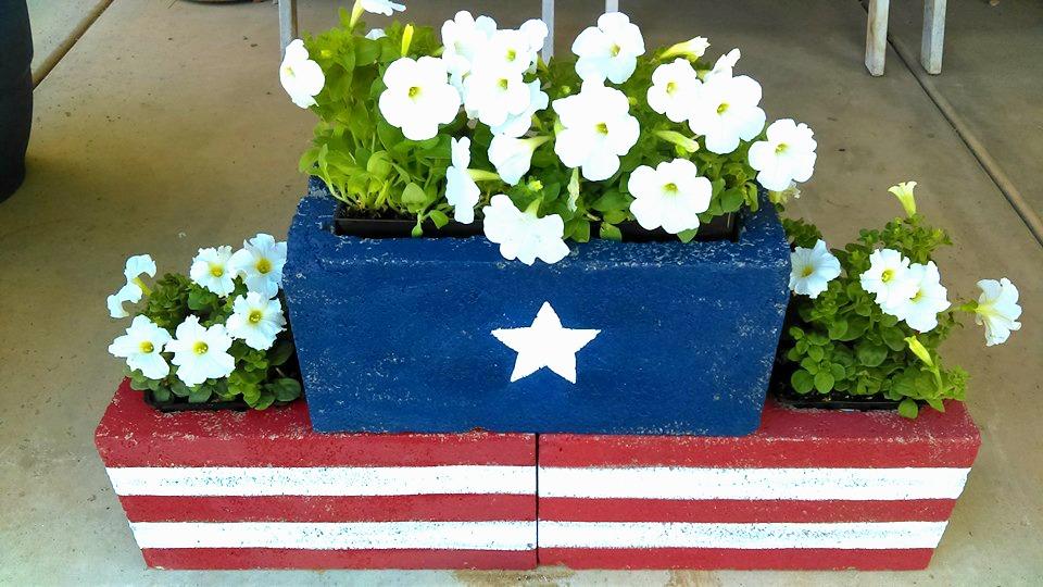 DIY Stars & Stripes Cinder Block Planters