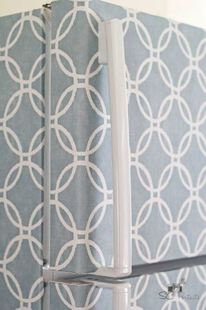 cover your fridge the easy way with wallpaper