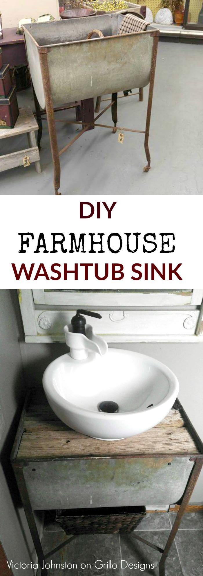 diy farmhouse washtub sink pinterest - Wash Tub Sink