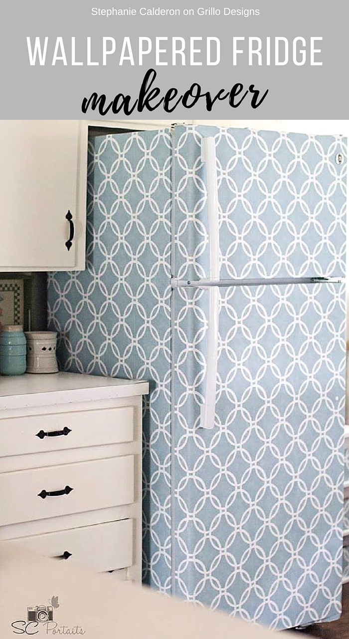 Wallpapered Fridge Makeover Grillo Designs