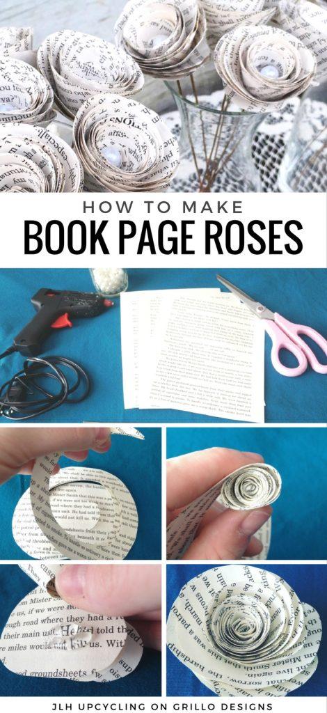 EASY DIY TUTORIAL FOR BOOK PAGE ROSES / GRILLO DESIGNS WWW.GRILLO-DESIGNS.COM