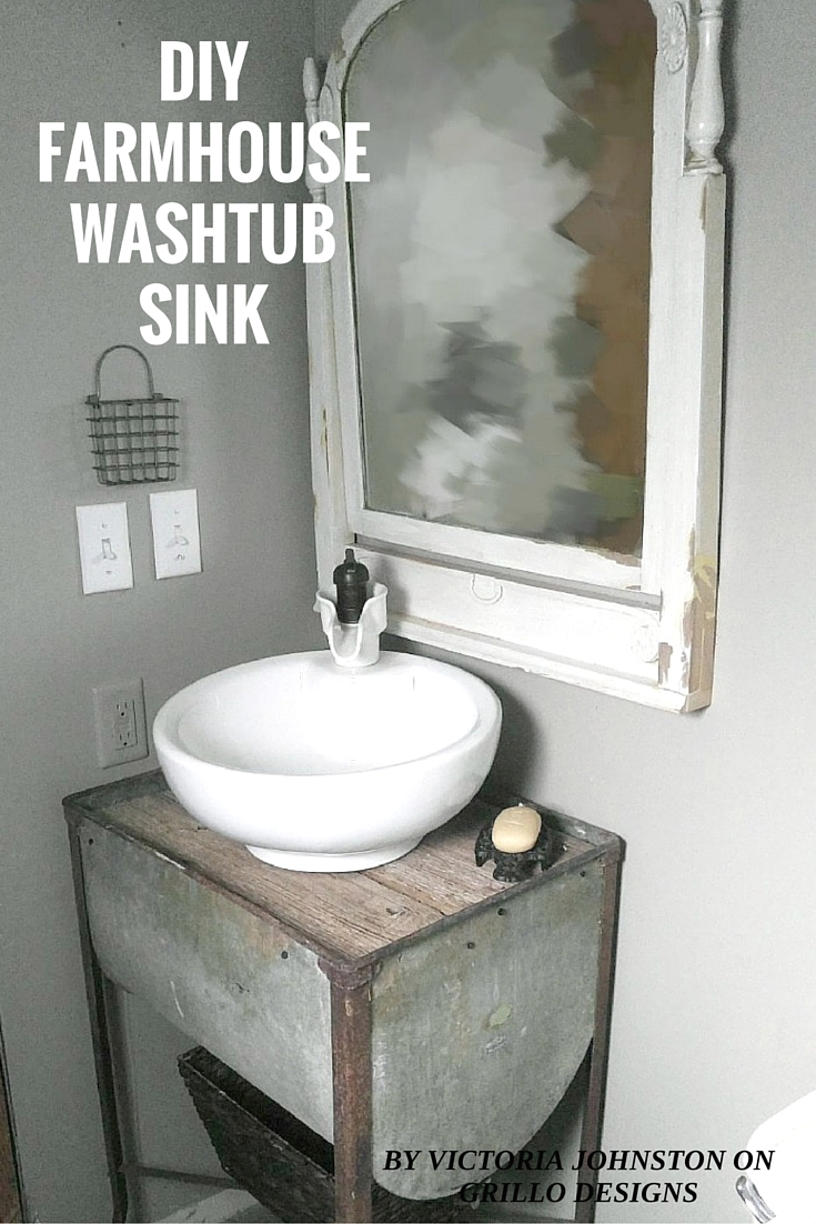 DIY FARMHOUSE WASHTUB SINK 6