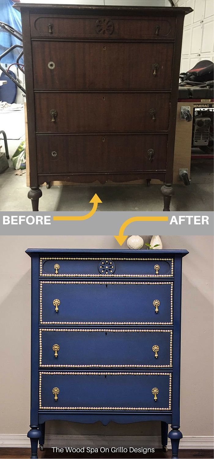 Applying nail head trim to a dresser
