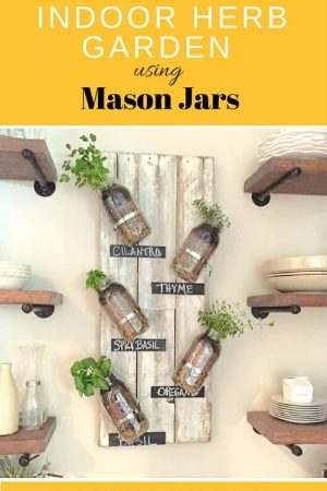 DIY Indoor Mason Jar Herb Garden WITH CHALKBOARD LABLES / grillo designs www.grillo-designs.com