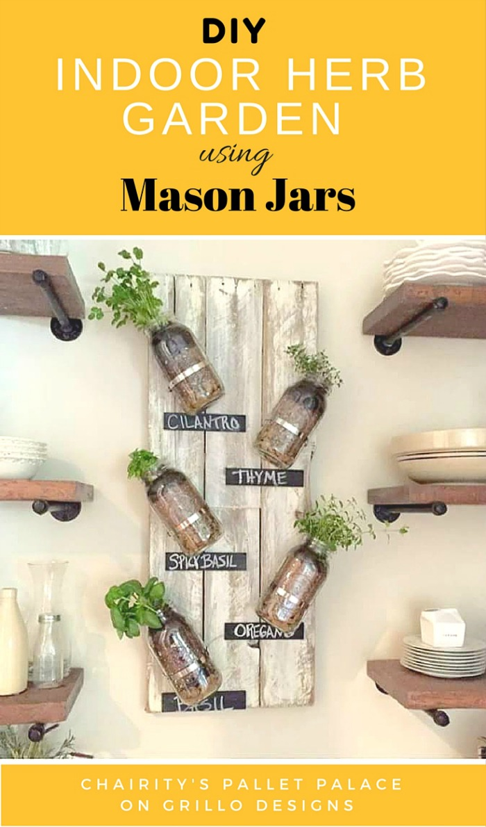 Indoor Herb Garden Using Mason Jars