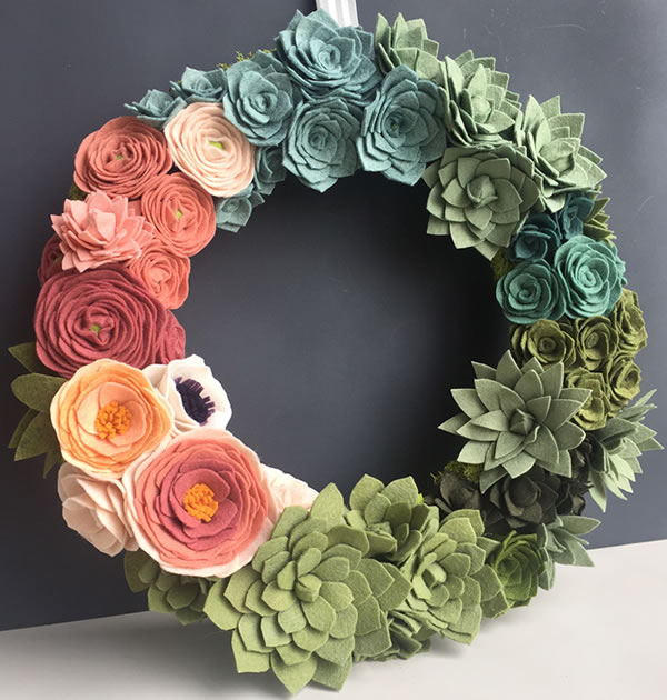 felt flower succulent wreath 141 - Wreath Design Ideas