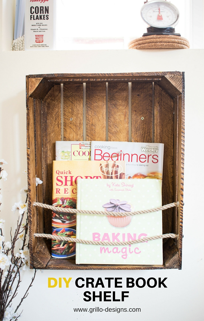 How to make a diy Book shelf from a wooden crate