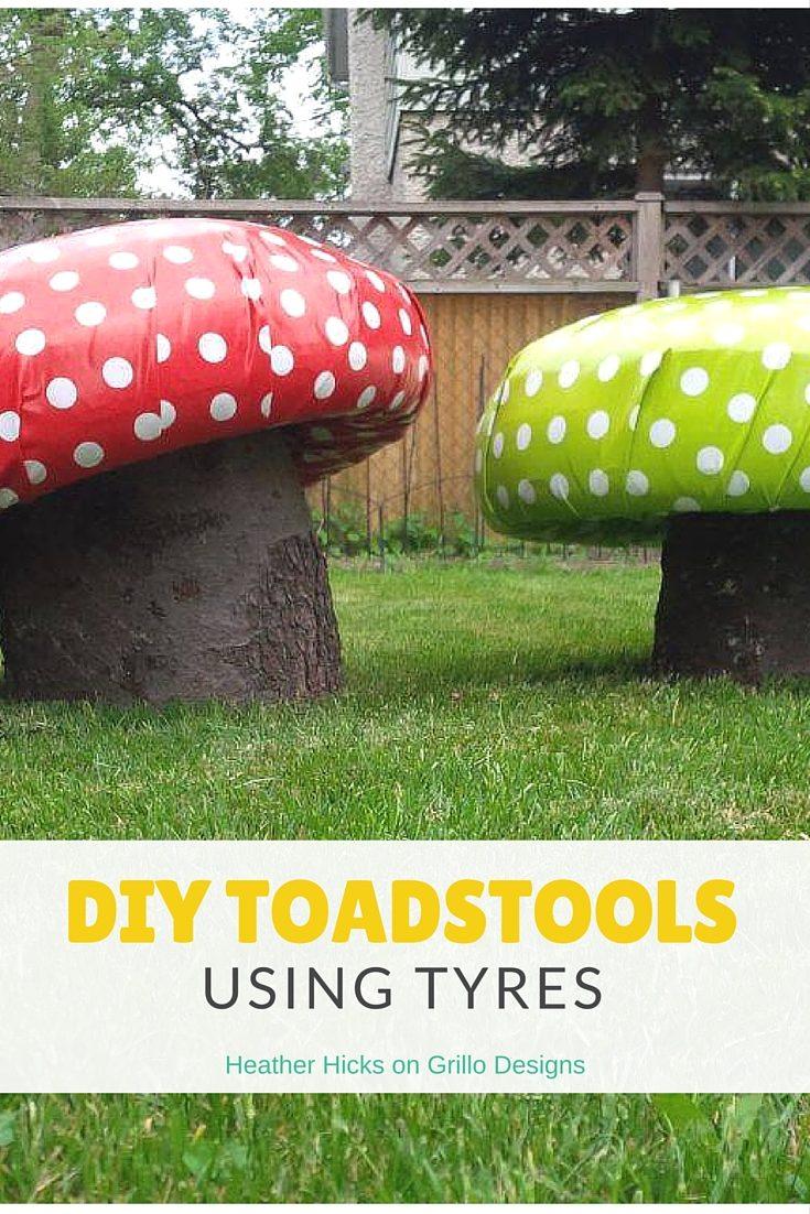 DIY Toadstools Using Tyres