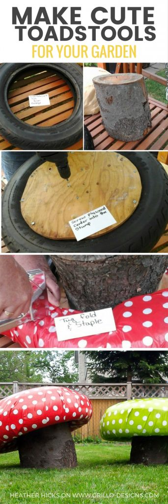 Learn how to make these super cute DIY garden stools using tree trunks and tyres! They look just like mushroom toadstools and are perfect for little bums! / grillo designs