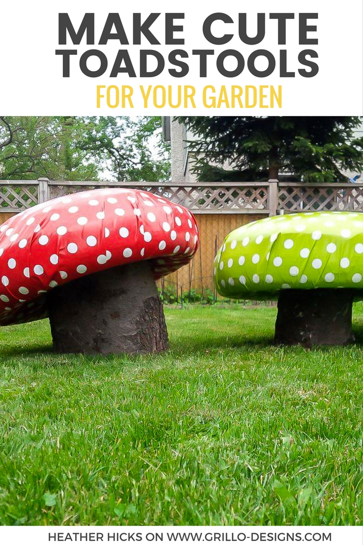 Learn how to make these super cute DIY garden stools using tree trunks and tyres! They look just like mushroom toadstools and are perfect for little bums! / Grillo Designs www.grillo-designs.com