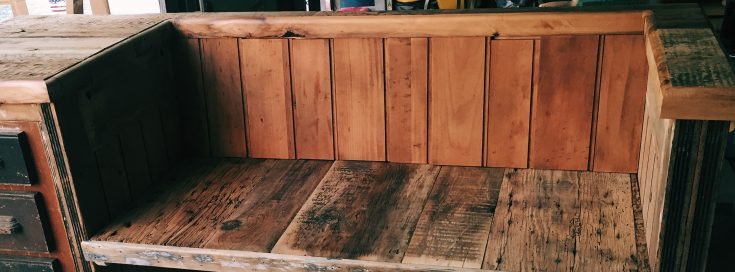 diy desk to bench before 1