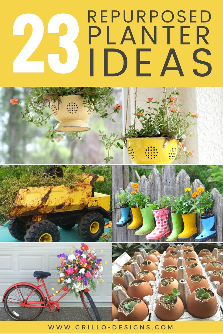 Creative planter ideas from repurposed items in your home / grillo designs www.grillo-designs.com