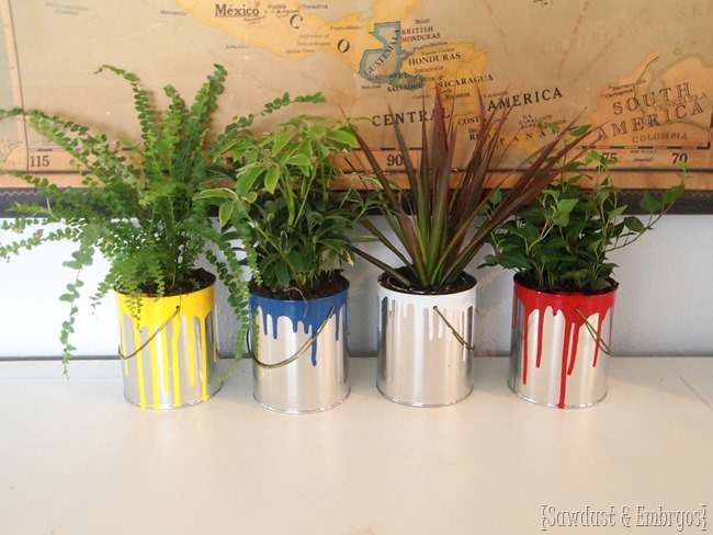 planter ideas dipped paint cans
