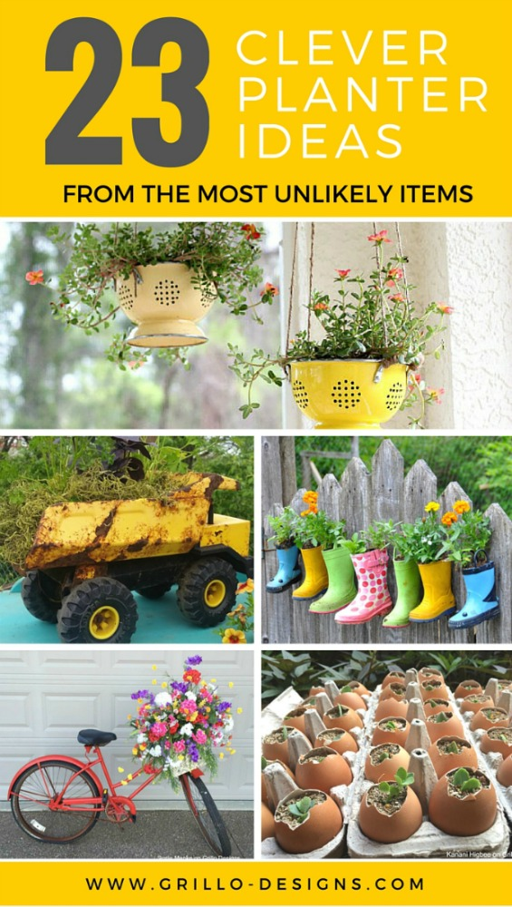 repurposed and upcycled planter ideas including diy herb gardens / www.grillo-designs.com