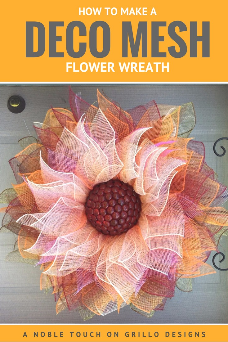How To Make A Flower Deco Mesh Wreath Grillo Designs