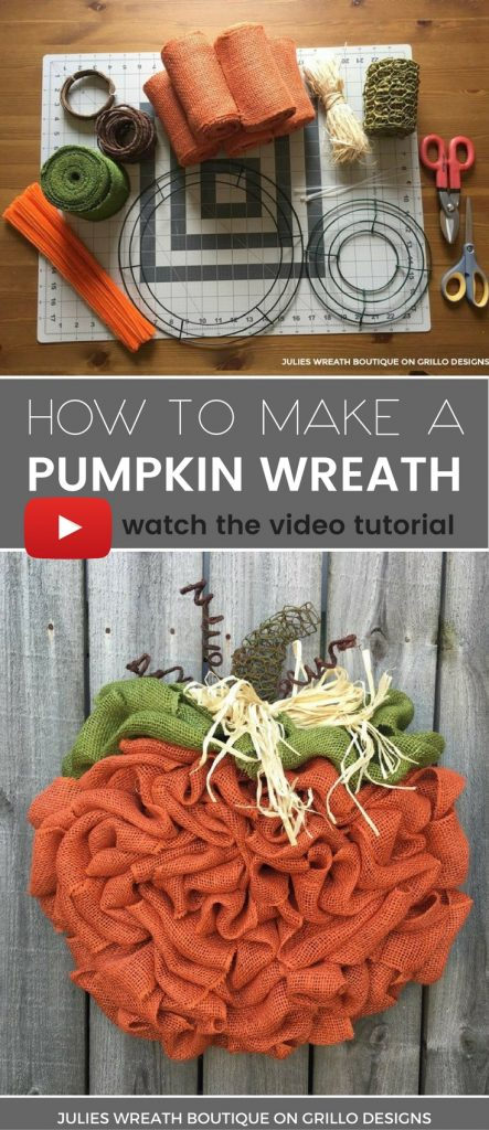 Julie Wreath boutique shares a step by step tutorial on how to make the perfect BURLAP pumpkin wreath for Fall, Autumn or Thanksgiving! / Grillo Designs www.grillo-designs.com