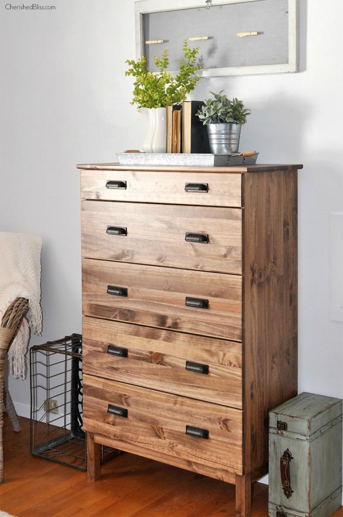 fixer upper style rustic TARVA dresser IKEA HACK