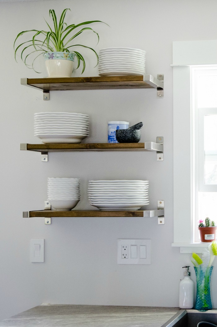 FIXER UPPER STYLE OPEN SHELVING IKEA HACK USING THE IKEA EKBY BRACKETS