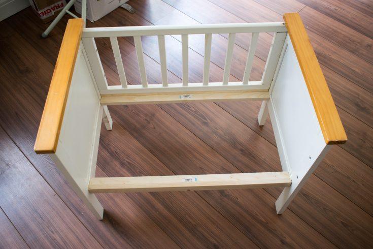 repurposed crib:cot into a bench 10